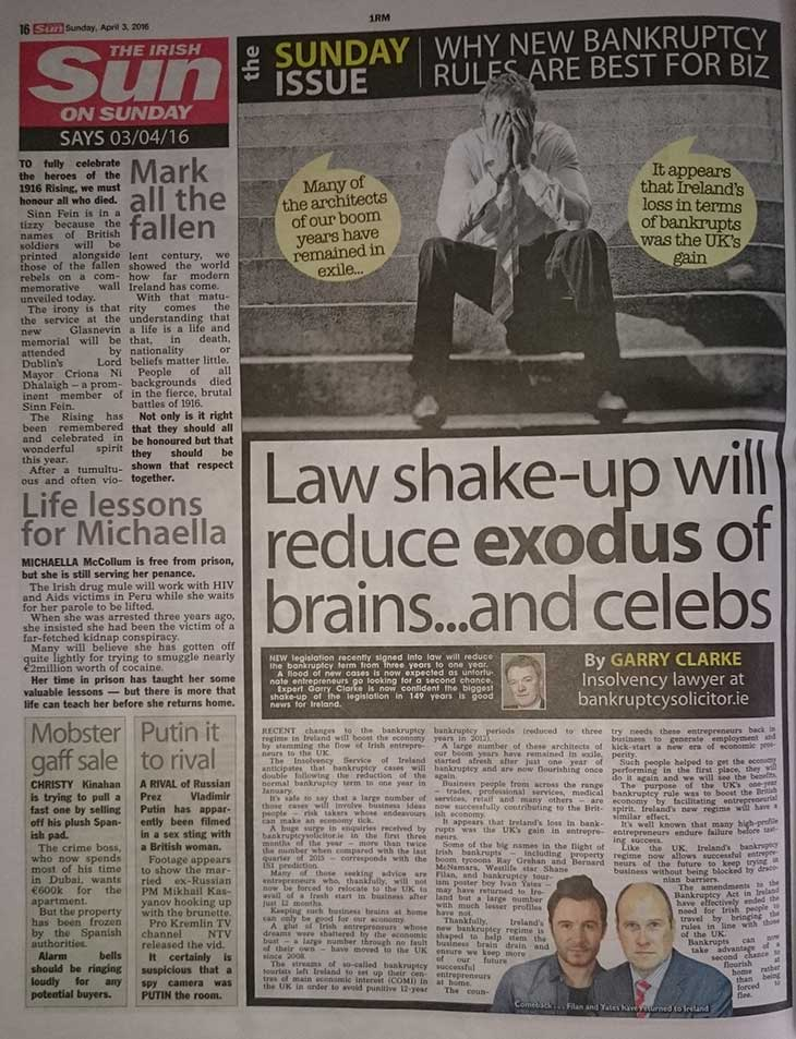 Bankruptcy Article Featured In Sun Newspaper